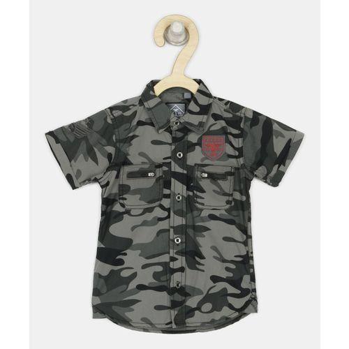 Gini & Jony Boys Military Camouflage Casual Black, Grey Shirt
