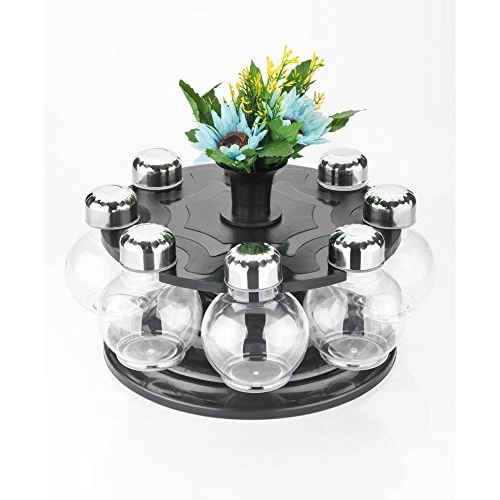 ATMAN Black Plastic 360 Degree Revolving Round Shape Transparent Spice Rack, Spice Container, Masala Box Rack