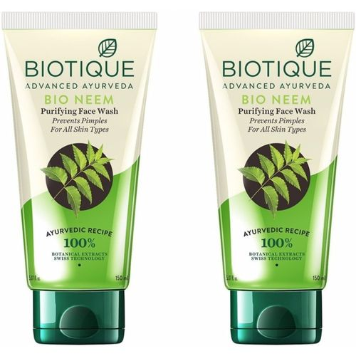 Biotique Bio Neem Purifying for Oily Acne Prone Skin(Pack of 2) (150*2=300) Face Wash(150 ml)