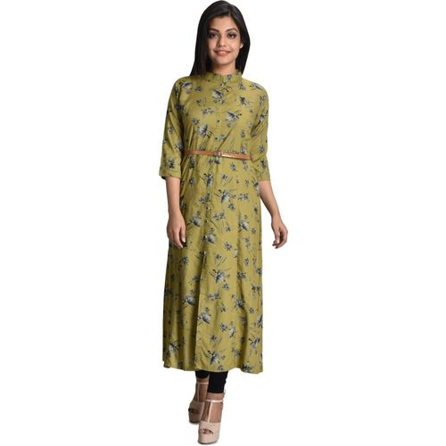 ZINERA Casual Floral Print, Printed Women Kurti(Dark Green, Green, Light Blue)
