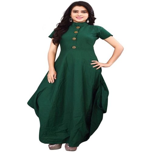 Availkart Festive & Party Solid Women Kurti(Dark Green)