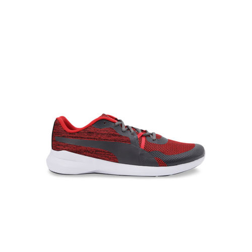 Puma Men Grey & Red Pacer Wave IDP Running Shoes