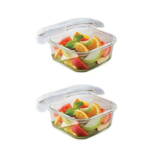 Borosil Transparent Microwavable Klip - N - Store Square Dish with Lid - Set of 2 (320 ml)