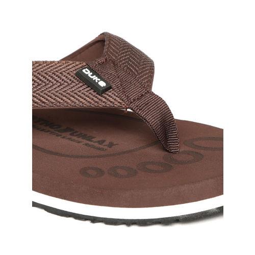 Duke Men Coffee Brown Self Design Thong Flip-Flops