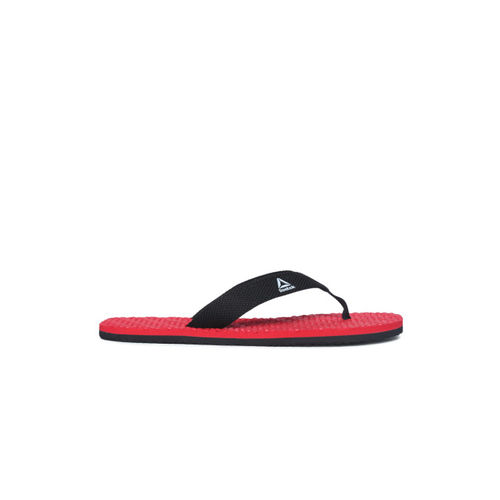 Reebok Men Red & Black Self Design Hexa Thong Flip-Flops