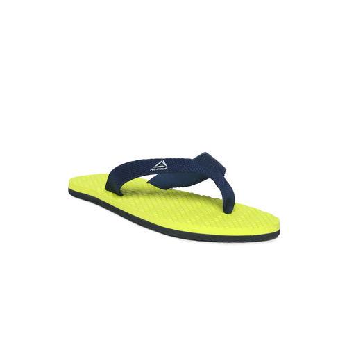 Reebok Men Navy Blue & Lime Green Hexa Textured Thong Flip-Flops