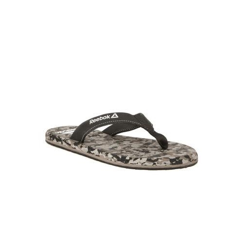 Reebok Men Black & Grey Printed Thong Flip-Flops