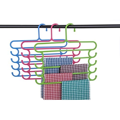 Floraware 5 Layer Multipurpose Hanger Clothes Organiser for Wardrobe, Shirts, Ties, Pants Space Saving Hanger, Cupboard, Pack of 3