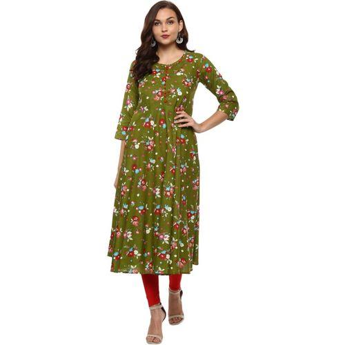 Yash Gallery Women Floral Print Flared Kurta(Green)