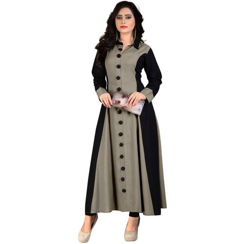 Madhuram Textiles Women Solid A-line Kurta(Grey)