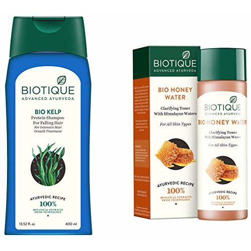 Biotique Bio Kelp Fresh Growth Protein Shampoo, 400ml and Biotique Bio Honey Water Clarifying Toner, 120ml