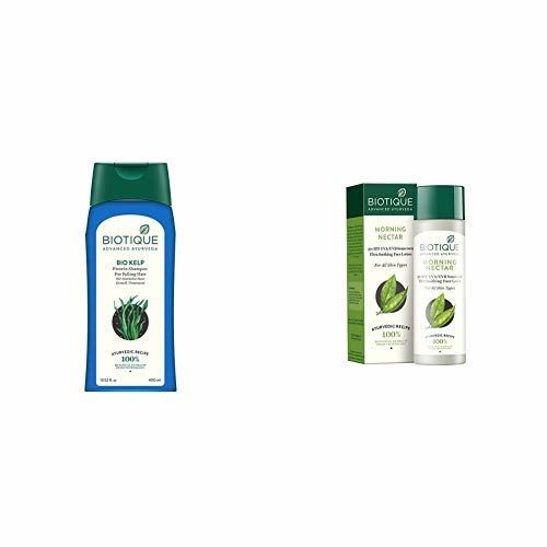 Biotique Bio Kelp Fresh Growth Protein Shampoo, 400ml and Biotique Bio Morning Nectar Sunscreen Ultra Soothing Face Lotion, SPF 30+, 120ml