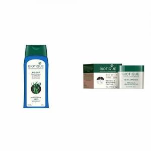 Biotique Bio Kelp Fresh Growth Protein Shampoo, 400ml and Biotique Bio Milk Protein Whitening & Rejuvenating Face Pack For All Skin Types, 50G