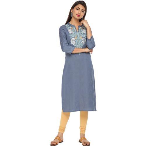 Alena Women Embroidered Straight Kurta(Light Blue, Grey)
