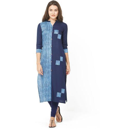 Zofey Women Printed Straight Kurta(Dark Blue, Light Blue)
