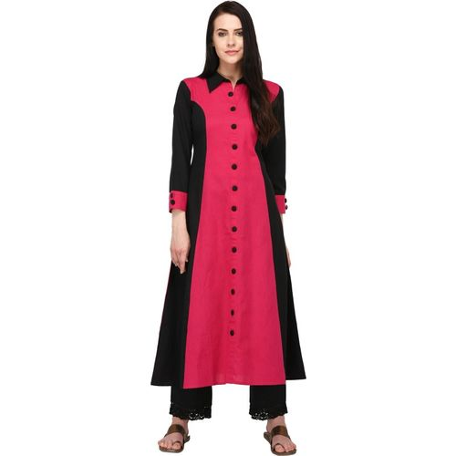 Pistaa Women Solid A-line Kurta(Pink)