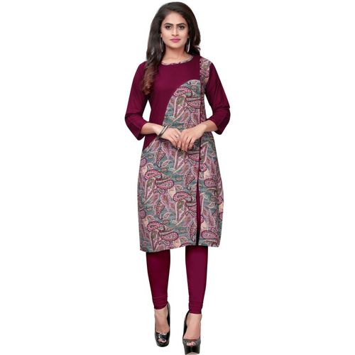 Saarah Women Printed Frontslit Kurta(Purple, Green)