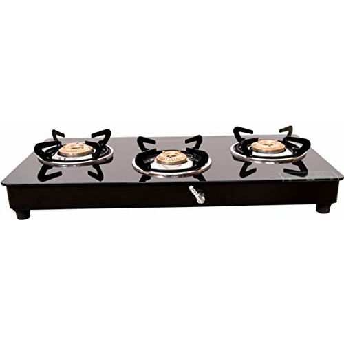 Butterfly Smart Glass 3 Burner Gas Stove, Black