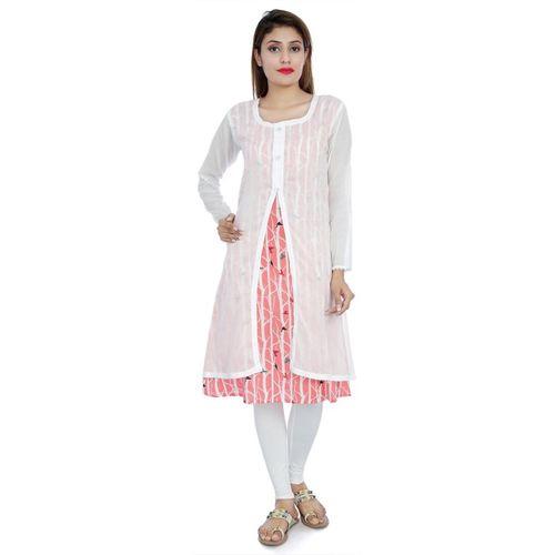 Divena Women Printed Straight Kurta(White, Pink)