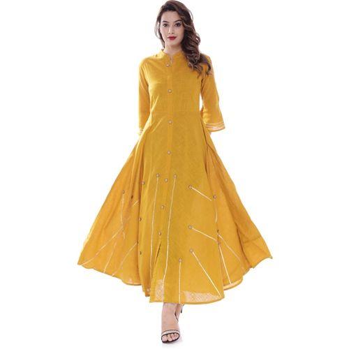 BS Exports Women Solid Flared Kurta(Yellow)