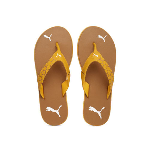 Puma Men Mustard Printed Thong Flip-Flops