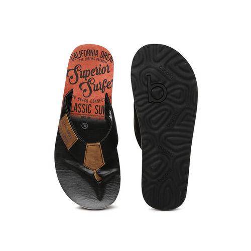 Bugatti Men Black & Brown Fidji Flip-Flops