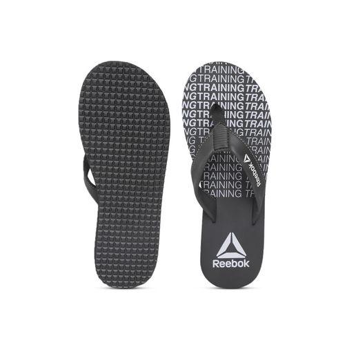 Reebok Men Black & Grey Dual Dash Printed Thong Flip-Flops