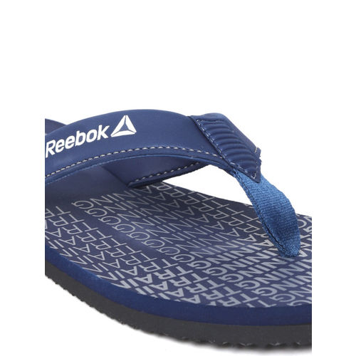 Reebok Men Navy Blue & Grey Dual Dash Printed Thong Flip-Flops