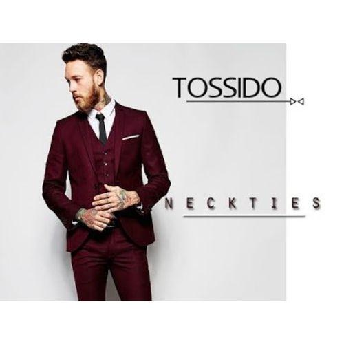 tossido Men's Woven Blue Striped Micro Fiber Skinny Neck Tie (Free Size)