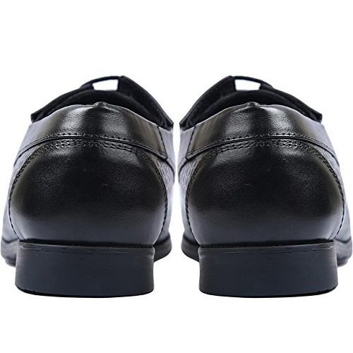 Costoso Italiano Black Leather Formal Textured Derby Shoes for Men
