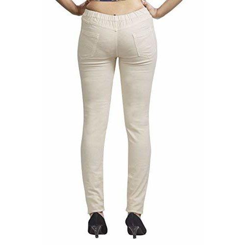 Adbucks Women's Cotton Denim Jeggings with Elastic Waistband