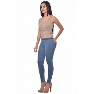 edaca805f6 Buy Frenchtrendz Blue Cotton Solid Slim Fit Casual Jeggings online ...