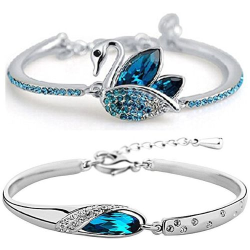 Shining Diva Crystal Cubic Zirconia Platinum Bracelet Set(Pack of 2)