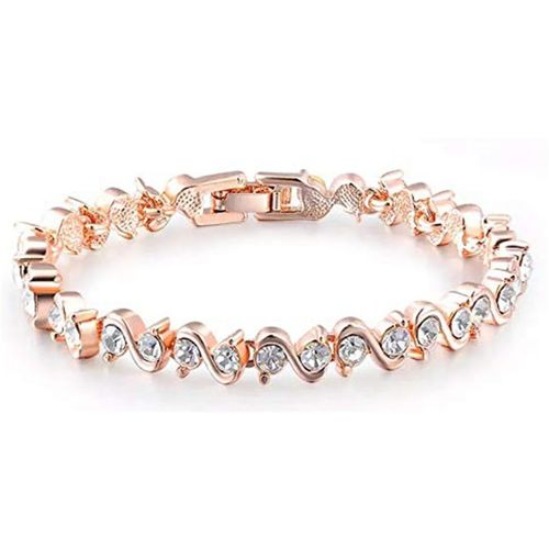 Shining Diva Alloy Cubic Zirconia Gold-plated Bracelet
