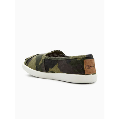 next Boys Olive Green Camouflage Print Slip-On Sneakers