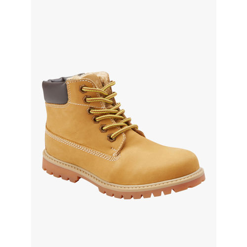 next Boys Camel Brown Leather Mid-Top Flat Boots