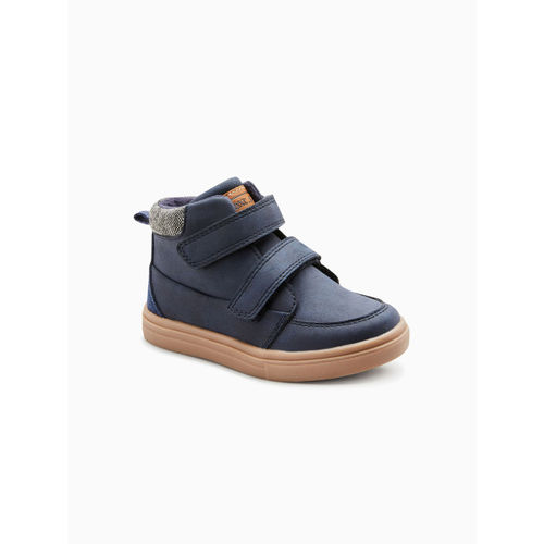 next Boys Navy Blue Solid Mid-Top Flat Boots