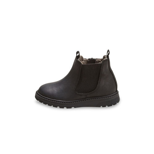 next Boys Black Solid Leather Mid-Top Flat Boots