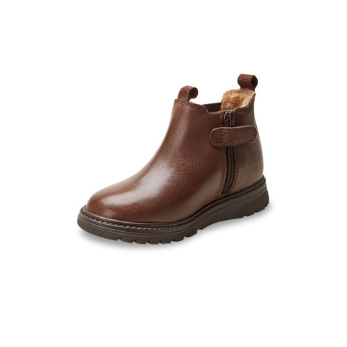 next Boys Brown Solid Leather Mid-Top Flat Boots