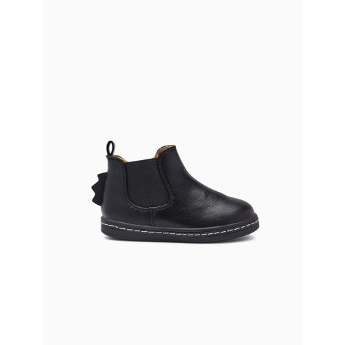 next Boys Black Solid Mid-Top Flat Boots
