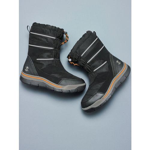 next Boys Black Solid Mid-Top Flat Boots