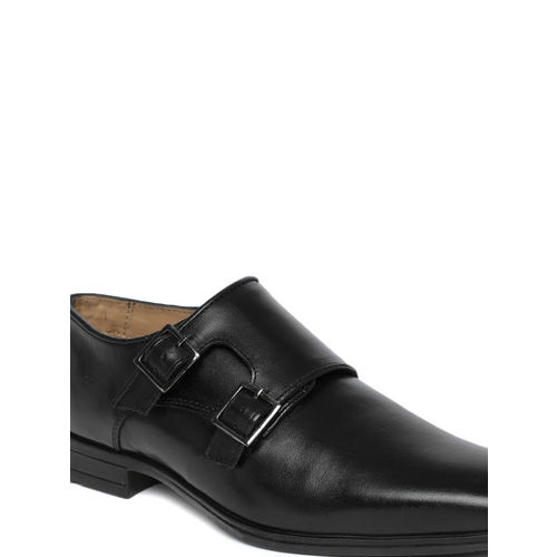 Arrow Men Black Genuine Leather Monk Shoes