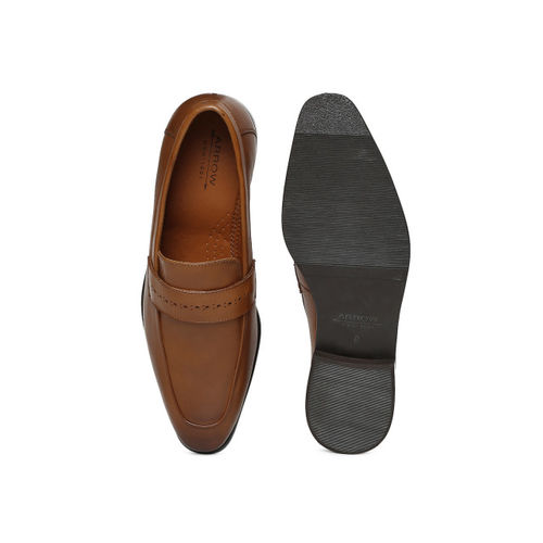 Arrow Men Tan Brown Leather Formal Slip-Ons