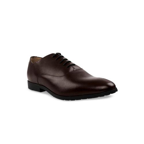 RAPAWALK Men Brown Leather Formal Oxfords