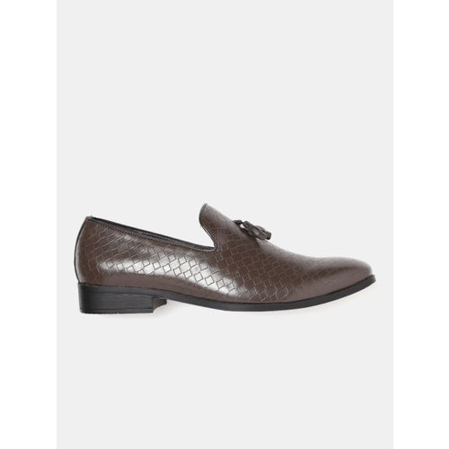 Mast & Harbour Men Brown Textured Semiformal Slip-Ons
