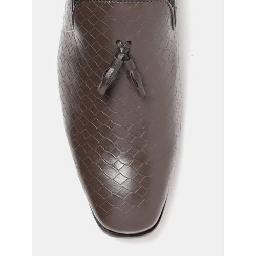 Mast & Harbour Men Brown Textured Semiformal Slip-Ons