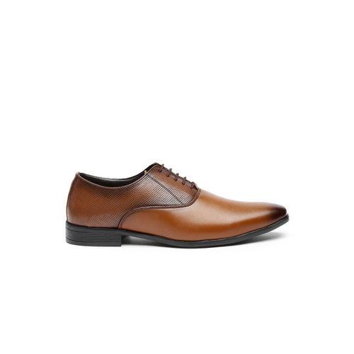 San Frissco Men Brown Textured Leather Oxfords