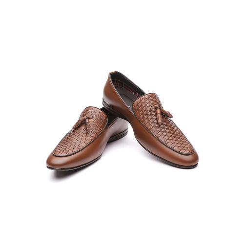 INVICTUS Men Tan Brown Patterned Formal Slip-Ons