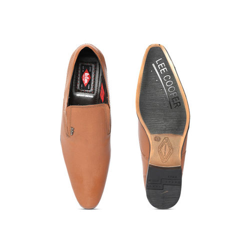 Lee Cooper Men Tan Brown Textured Leather Formal Slip-Ons