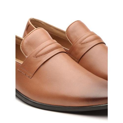 INVICTUS Men Tan Brown Formal Slip-Ons